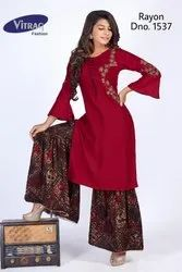 3/4th Sleeve Straight Embroidered Rayon Kurti with Printed Sharara