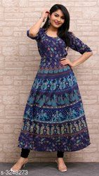 Jaipuri Print Attached Sleeves Frock