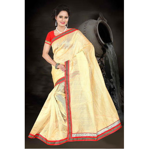 b1e9e2caa Yellow And Red Chanderi Cotton Cotton Saree