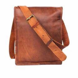 Brown Unisex Leather Sling Bag