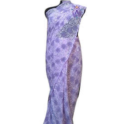 Ladies Georgette Purple Saree with Blouse Piece