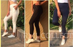 Lycra Cotton Ladies Plain Pant, Waist Size: 34