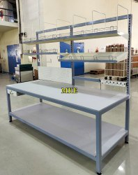 Mild Steel Rectangular Heavy Duty Work Bench With Wooden Top, For Packing & Labelling Activity, Size: 8 Feet