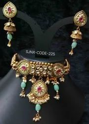 Golden satyam jewellery nx Traditional Necklace Set