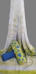 Bagru Hand Block Printed Cotton Suit With Chiffon Dupatta