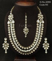 Designer Crystal Stone Necklace Set with Pearl Mala