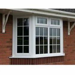 White Fixed UPVC Casement Window, Thickness Of Glass: 5 mm