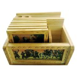 Brown Gemstone Painting Wooden Office Set