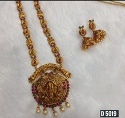 South Indian Style Brass Long Temple Jewellery Set