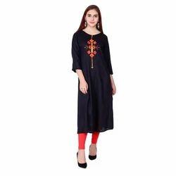 Ladies Black Embroidered Kurti, Size: S & XL