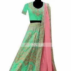 Designer Bridal Lehenga Choli, Heavy Stone Work & Embroidery