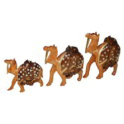 Wooden Jhuldar Camel With Stone Work