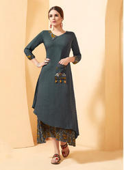 Stylish Party Wear Rayon Slub Designer Kurtis