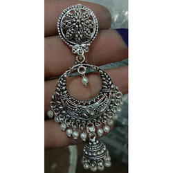 Aryan Round Silver Antique Earrings