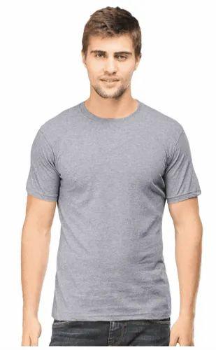 4c8edbf945 Half Sleeve Cotton Mens Round Neck T Shirt Plain Grey, Rs 150 /piece ...