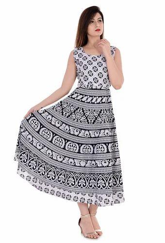09098152c72 Female Cotton Elephant Rajasthani Printed Women Long Frock