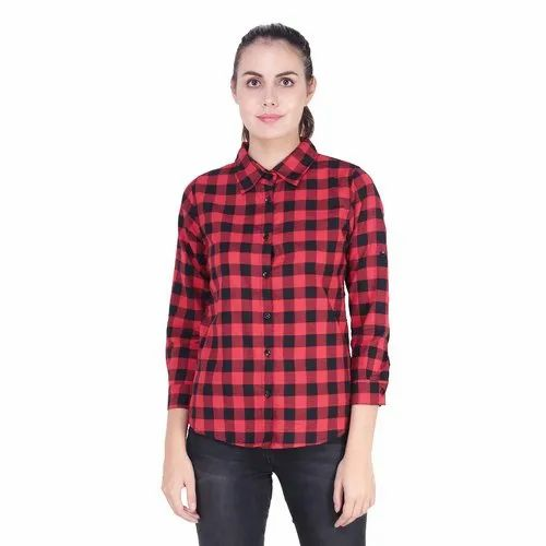 2e45af23f7 Red Cotton Check Ladies Shirt