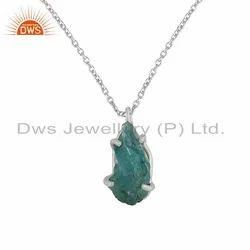 925 Silver Raw Apatite Gemstone Chain Pendant
