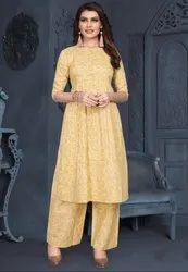 Pastel Yellow Cotton Kurti with Palazzo
