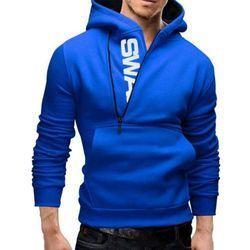 Men Blue Hooded Sweatshirt
