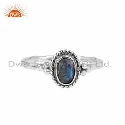 Labradorite Gemstone 925 Silver Oxidized Womens Rings