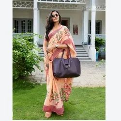 Formal Wear Stylish Printed Synthetic Saree, With blouse piece, 5.5 m (separate blouse piece)