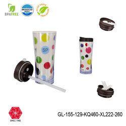 Transparent Plastic Coffee Juice Milk & Water Travel Mug With Sipper Lid-gl-155