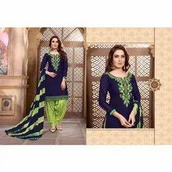 Women Blue Casual Wear Cotton Fabric Patiyala Salwar Kameez, Size: Free