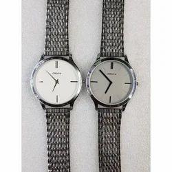 Men Silver Tone Chain Wrist Watch