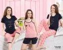 Short, Long Pink Kuukee 9309 Hosiery 5 Piece Nightwear Set