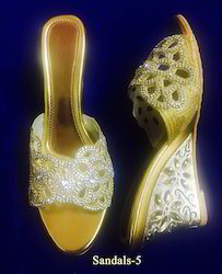 Golden Bridal Sandals, Size: 7 & 8