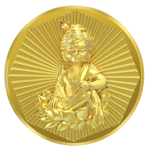 Golden (Gold Plated) A - Bal Gopal Panchdhatu Coin