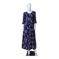 Round Neck 3/4 th Sleeves Ladies Printed Ankle Length Rayon Dress