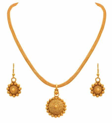 93858ffa314ad Jfl Traditional Ethnic One Gram Gold Plated Pendant Set