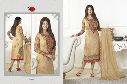 Embroidered Full Sleeve Silky Salwar Suit