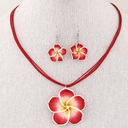 Jewel Touch Red  Red Flower Pendant Multilayer Design Jewelry Set