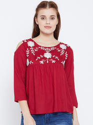 100% Rayon women's Burgundy Colour Top