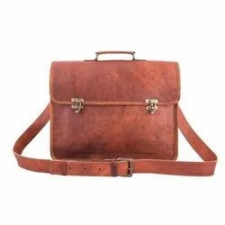 Plain Brown Office Leather Bag, Size: 11 X 15 Inch