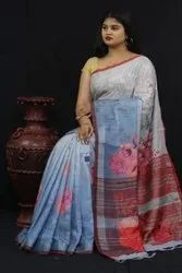 Pure Jacquard Linen with Spanish Digitally Printed Saree