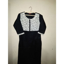 3/4th Sleeve Ladies Round Neck Kurti