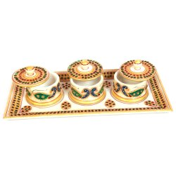 MARBLE STONE STUDDED THREE DIBBI SET