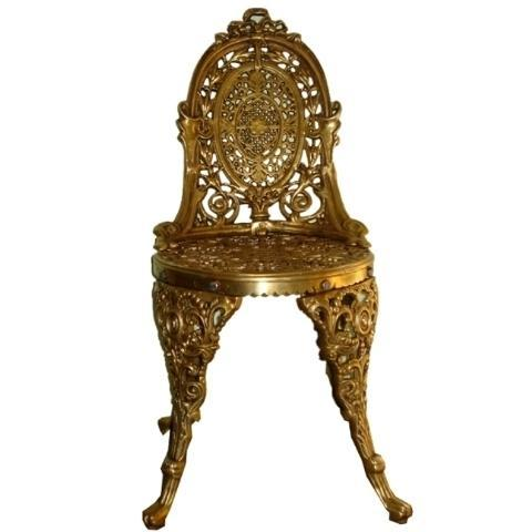 Aakrati Garden Chair Made in Brass Metal Standard Furniture, Size: 36 Inch