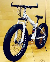 Bmw White Fat Tyre Foldable Cycle
