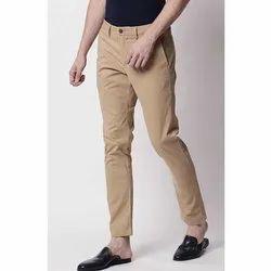 Cotton Mens Plain Casual Trouser