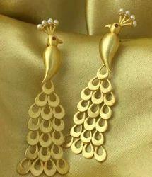 Golden Peacock Hanging Earring