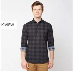 Black 06C Printed Poplin Checks Full Sleeve Trim Fit Shirt