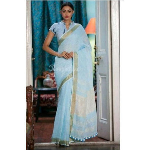 Ladies Sky Blue Linen Saree