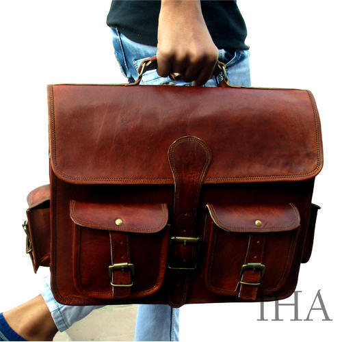 NEW! Handmade Vintage Style Leather Laptop Briefcase w//o flap Shoulder Bag