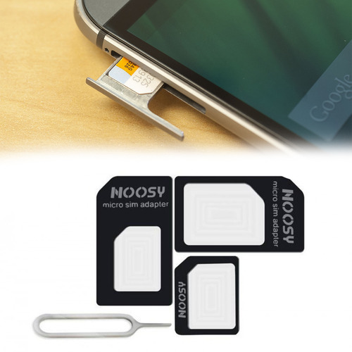DeoDap 4 IN 1 Noosy SIM Card Adapter Kit Nano, Micro,Needle For iPhone