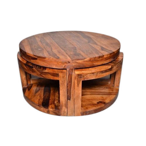 Wooden Round Coffee Table Set